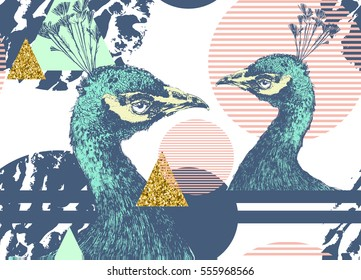 Seamless vector pattern with peacock and abstract geometrical elements