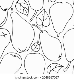 Seamless vector pattern of pear harvest, made in sketch style. Fruit background outline drawing.