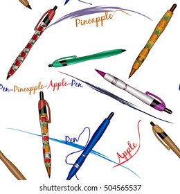 Seamless vector pattern with pens in different colors. Color pens vector illustration isolated on white background. Pens with images of apples and pineapples. Apple pen. Pineapple pen.