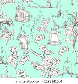 Seamless vector pattern with peonies, birds, tree, butterflies. Chinoiserie style. Background, wallpaper design. Blue background.