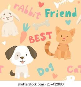 Seamless vector pattern with pet best friends animals, dog, cat and rabbit, food elements and text