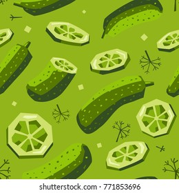 Seamless vector pattern Pickles and dill. Whole cucumber with slices, fun for kitchen, food and children products