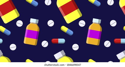Seamless vector pattern of pill bottle, a white pills and colored capsule pills isolated on dark blue background. Natural vitamin pills. Alternative medicine. Horizontal banner. vector eps10.