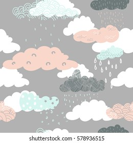 Seamless vector pattern of pink, blue and grey doodle clouds