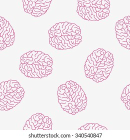 Seamless vector pattern of pink brain on a light gray background, hand-drawn.