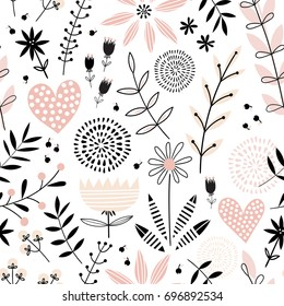 Seamless vector pattern with pink flowers and hearts