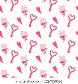 Seamless vector pattern with pink hearts. Sweet love texture for packaging paper, fabric, decorative prints and invitation card. Vector illustration EPS10