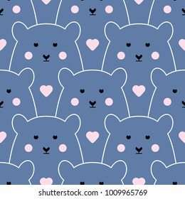 Seamless vector pattern with polar bear. Cute seamless pattern with sweet polar bear and heart.