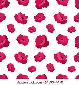 A seamless vector pattern with poppies. Red beautiful flowers on a white background.