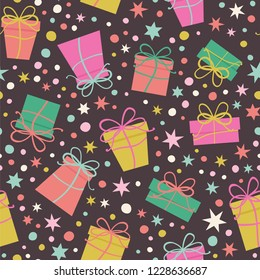 Seamless vector pattern with present gifts, stars and confetti on the dark background.