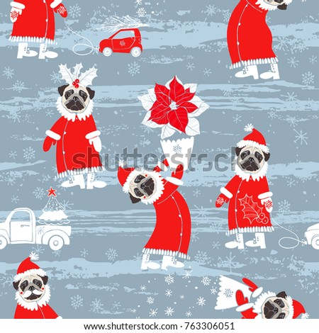 758dc351be6 Seamless vector pattern with pugs dogs in Santa Claus costume. Dog - animal  symbol of