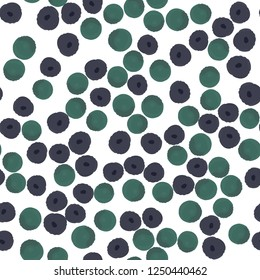 Seamless Vector pattern with purple and green polka dots. Elements are not cropped. Pattern under the mask. Perfect design for textile, box, posters, cards, web etc.