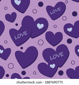 Seamless vector pattern with purple hearts and the inscription