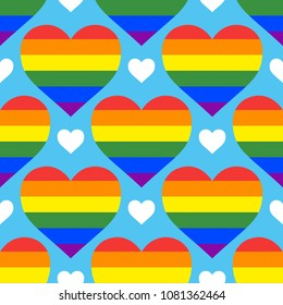 Seamless vector pattern with rainbow hearts. Gay pride flag colored illustration. Trendy stylish texture. Repeating colorful tile, artwork for print and textiles.