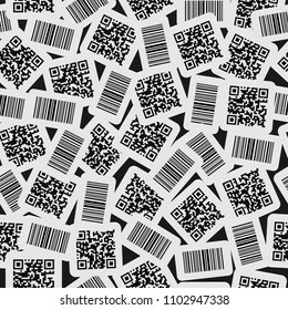 Seamless vector pattern of realistic barcode and qr code black icon. Barcode label set sticker on dark grey background. Design for web page backgrounds, fabric, wallpaper, textile and decor.
