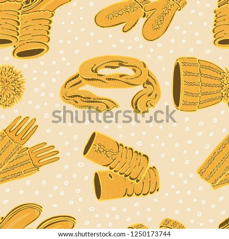 Set knitted seasonal winter traditional accessories with ornament vector  illustration - Vector 549b20f0414