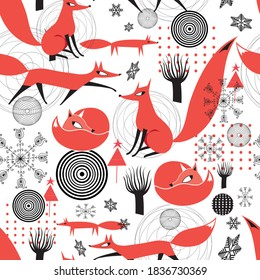 Seamless vector pattern of red foxes snowflakes and trees. Template for a fabric, website, or poster.