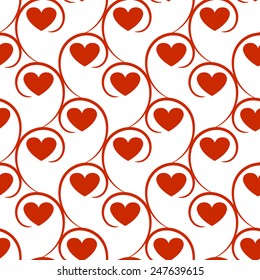 Seamless vector pattern with red hearts