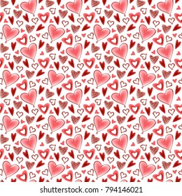Seamless vector pattern with red hearts.