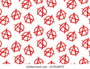 Seamless vector pattern of A red letter symbol of Anarchy on white background.