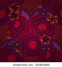 Seamless vector pattern in red, purple and magenta colors with cute rose flowers and green leaves. Floral background.