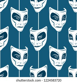 Seamless vector pattern from the repeating theatrical masks on a blue background. Curtain. Comedy and tragedy. Cheerful and sad actor. Kind and evil joker. Endless texture for textile design. Vintage