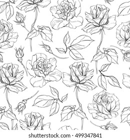 Seamless vector pattern with roses. Black and white floral background with  sketch of roses.