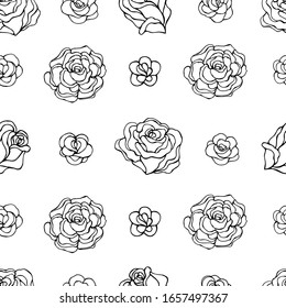 Seamless vector pattern of roses. Decoration print for wrapping, wallpaper, fabric, textile. Design for birthday, wedding, Valentine's Day, Mother's day, Women's Day and other holiday. Linear roses.
