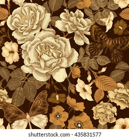 Seamless vector pattern with roses, peonies, bindweed, wild rose, butterfly. Design of flowers, leaves, insects, vintage style. Illustration of floral decoration, gold on a white background.