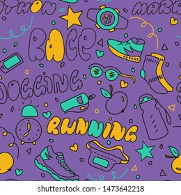 Seamless vector pattern with running theme elements in doodle style. Concept for running club invitations, sport poster prints, flyers, fabric and wrapping paper, surface textures.