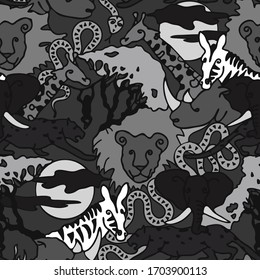 Seamless vector pattern with safari animals on grey background. African hand drawn wallpaper design for children.