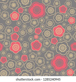 seamless vector pattern sakura flowers chinese style, red and gold sakura flowers on gray background, chinese new year background, vector illustration EPS 10