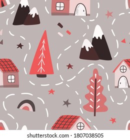 Seamless vector pattern in Scandinavian style with winter trees, mountains, houses, map. Winter pattern for fabrics, clothing, holidays, packaging paper, decoration.