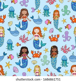 Seamless vector pattern with sea creatures like crab, octopus, jelly fisch, star fish, and mermaids. Mermaids of different skin color, black and brown and a redhead.