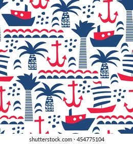 seamless vector pattern with sea elements: ships, anchors, palms