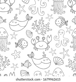 Seamless vector pattern with sea and ocean creatures such as whale, crab, octopus, jellyfish, fish, shells, coral, sea star fish. Outline drawing perfect for coloring page or book