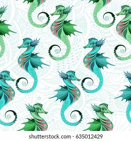 Seamless vector pattern with seahorses. Texture for wallpapers, pattern fills, textile design, web page backgrounds