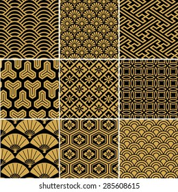 Seamless vector pattern set. Traditional japanese ornamental motives.