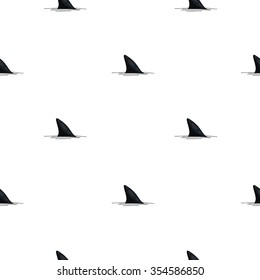 Seamless vector pattern of shark fins on a white background. Shark print.