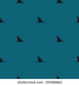 Seamless vector pattern of shark fins on a blue background.