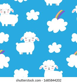 Seamless vector pattern with sheeps and clouds on a blue background.
