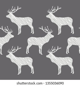 Seamless vector pattern. Silhouette of a Deer with Zebra stripes. Graphic element for design. Can be used for wallpaper, textile, invitation card, wrapping, web page background.