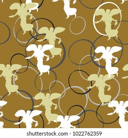 Seamless vector pattern with silhouettes of ancient Greek winged goddess of victory Nike and abstract ellipses.