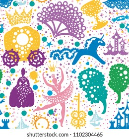 Seamless vector pattern of silhouettes consisting of Castles, carriages, unicorns, cup, key, ship, candy, fan, crown, ballerina, trees, ladies in crinolines Fabulous background in cartoon style.