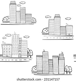 Seamless vector pattern with sketched buildings.