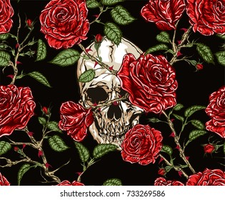 Seamless vector pattern of skull and red roses with stems and leaves tangled on black background. Hand drawn illustration.
