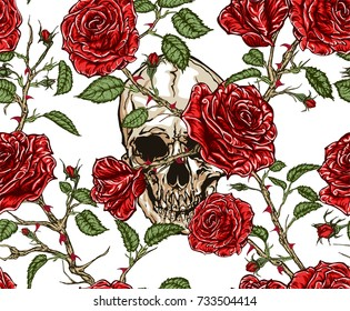 Seamless vector pattern of skull and red roses with stems and leaves tangled on white background.