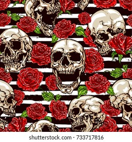 Seamless vector pattern of skulls and red roses on striped black and white background.