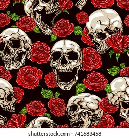 Seamless vector pattern of skulls and red roses on dark background.