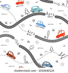 Seamless vector pattern with small cars and road signs on white background